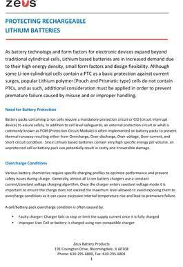 Protecting Rechargeable Lithium Ion Batteries