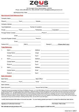 New Account Credit Reference Form
